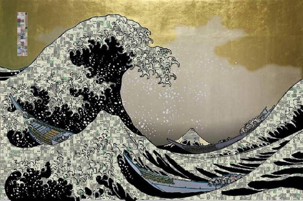 TARTAROS JAPAN『Realcamo AutomaticWAVE black Gold sky silver cloud gold splash B55875056D $Camouflage』