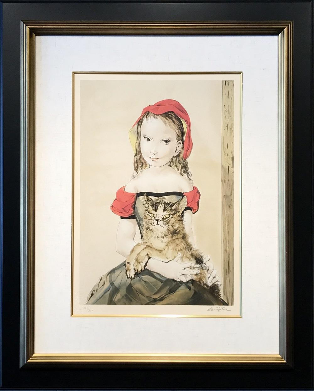 藤田嗣治『猫と少女』